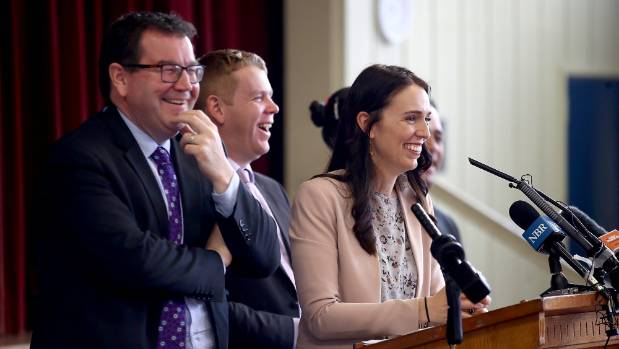 Finance spokesman Grant Roberston,  education spokesman Chris Hipkins, and leader Jacinda Ardern.