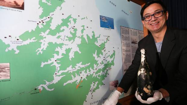Marlborough Heritage Trust executive director Steve Austin with a map showing shipwrecks in the Sounds and an unopened ...
