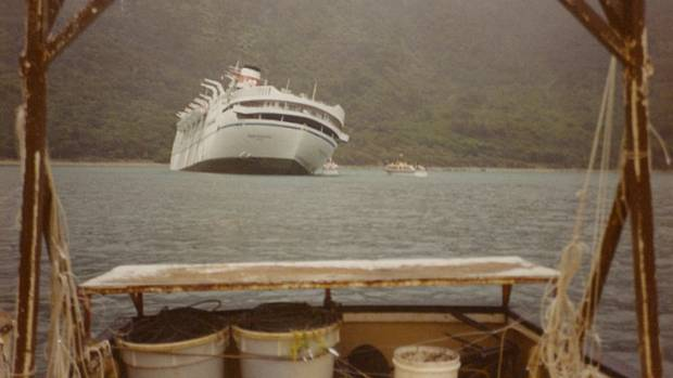 The Soviet cruise ship Mikhail Lermontov lists before sinking in Port Gore on February 16, 1986.