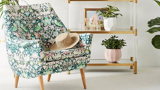 Backed on a cool botanical green, this occasional chair in Strawberry Thief print by William Morris is the stuff design ...
