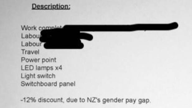 Electrician Brad Kul posted this invoice on Twitter. He charges female customers 12 per cent less than male customers.