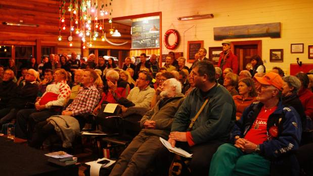Members of the crowd watch Nelson election candidates discuss transport issues at a forum hosted by Nelsust Inc and ...