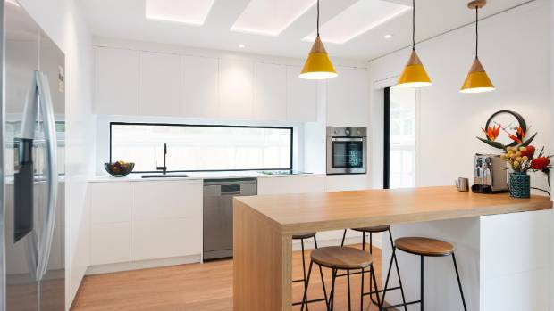 The kitchen on The Block: Side x Side, designed by Stace and Yanita, was criticised for its lack of power points. But ...