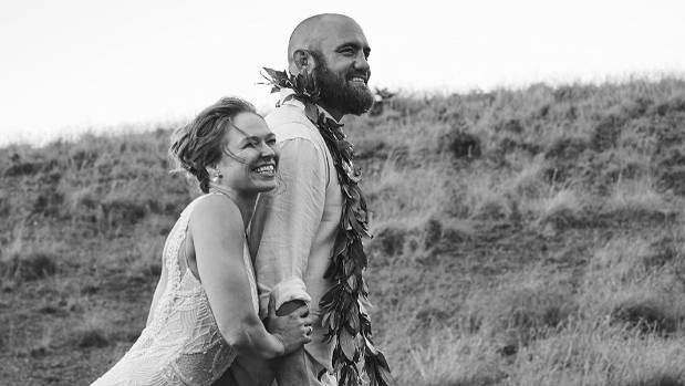 UFC stars Ronda Rousey and Travis Browne on their wedding day.