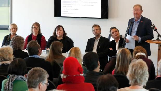 Nelson candidates Sue Sara, left, New Zealand First, Judene Edgar, facilitator, Rachel Boyack, Labour, Richard Osmaston, ...