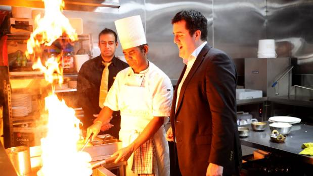 On the campaign Trail in Hutt South, National's Chris Bishop  visiting an Indian Restaurant in Lower Hutt.