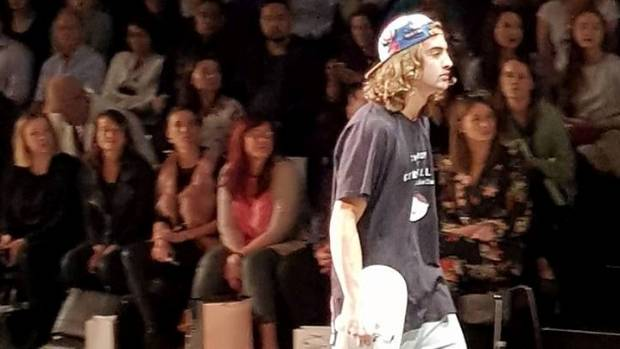 Lukes Dawson's collection The Boy From Goreville on the catwalk at New Zealand Fashion Week.