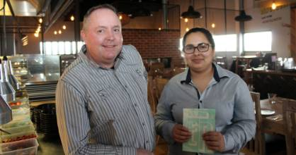 A warm welcome awaits you at the Ember Eatery and Bar in Pukete, from owner Mark Davis and assistant manager Hansa Malhotra.