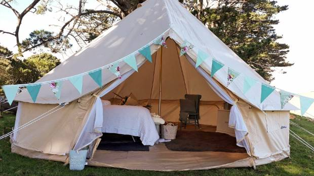 The bell tent has everything a boutique hotel would offer. & Pop up glamping accommodation business set up in Onewhero | Stuff ...