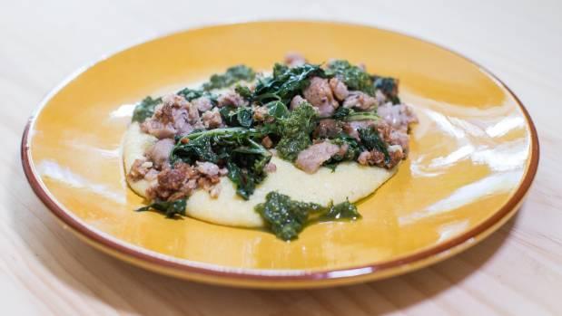 Pork sausage, silverbeet and polenta makes for a simple, satisfying midweek meal.