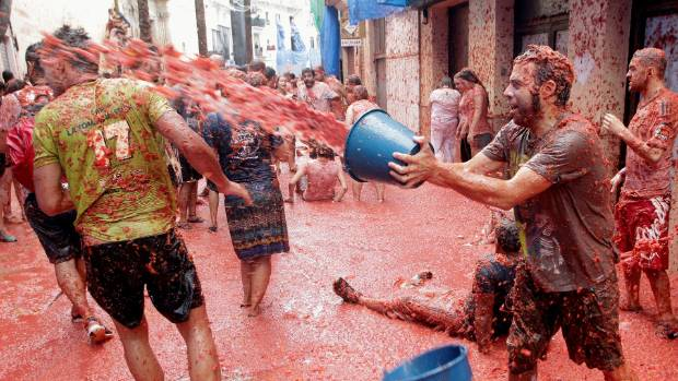 The Tomatina is said to have originated from a spontaneous bust-up between locals in 1945.
