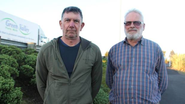 Taupiri residents Richard Brown, left, and Nick Turtle want truck drivers to stop engine breaking when passing through ...
