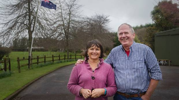 Liz and Leo Bennett in their garden at Inglewood, Taranaki.