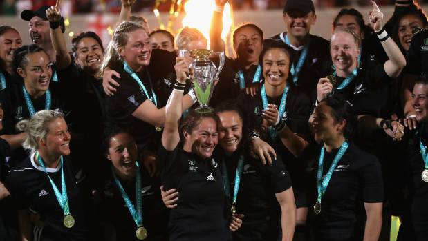 Fiao'o Faamausili, the New Zealand Black Ferns captain raises the world cup after their victory during the Women's Rugby ...