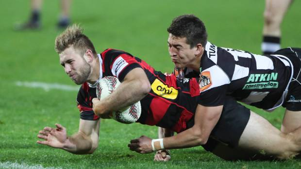 Braydon Ennor dives over for one of his two tries against the Magpies in Napier in round three.