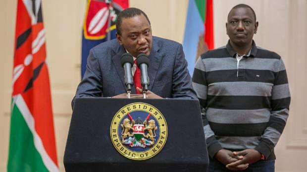 """Kenyan President Uhuru Kenyatta, left, is being called """"commander in drinks"""" on social media."""