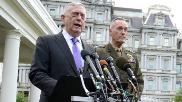 US Secretary of Defence James Mattis (left) tells media the US has options to annihilate North Korea, as Chairman of the ...