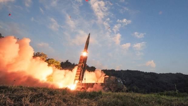 South Korean troops fire Hyunmoo missile into the waters of the East Sea at a military exercise in South Korea.
