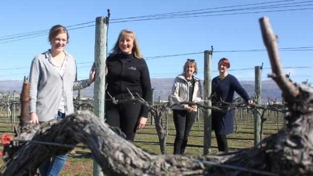 The 4 Barrels Walking Wine Trail vineyard participants: Carolyn Murray, of Scott Base, Misha Wilkinson, of Misha's ...