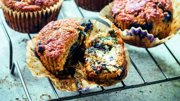These banana and blueberry bran muffins can be made dairy free by using coconut yoghurt.