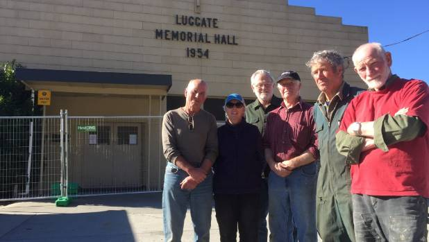Luggate residents, from left, Graeme and Yvonne Perkins, Jim Bryson, Tim Orbell, Graham Taylor and Woody McMartin ponder ...