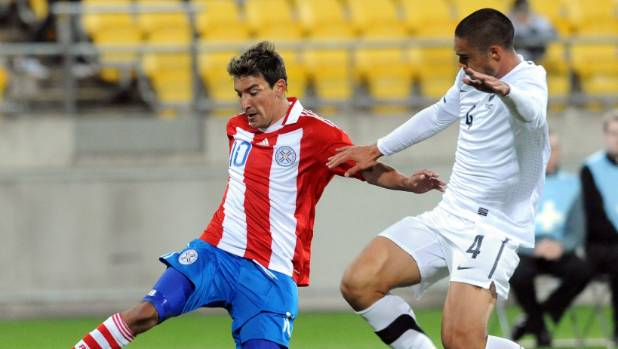 Winston Reid was sent off playing against Paraguay in Wellington in 2010.