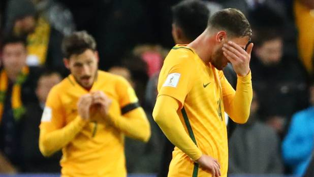 Socceroos players react at full time of their 2-1 victory over Thailand, which may not be enough for them to qualify ...