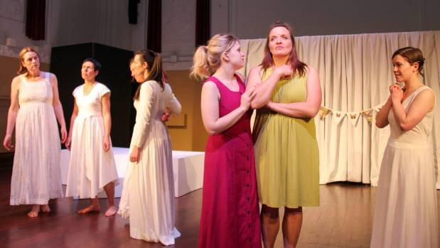 """A scene from Angie Farrow's play """"Esther"""" from left Marti Robinson, Viv Aitken, Katherine Lyons, Harriette Barker,  ..."""
