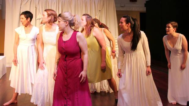 """The chorus from Angie Farrow's play """"Esther"""" part of the """"Among Strangers""""  season at Centrepoint Theatre."""