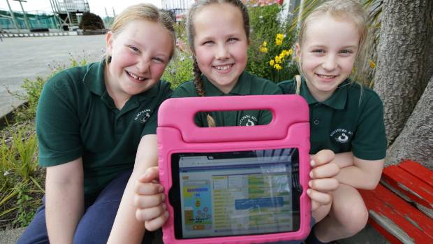 Makarewa school pupils, from left, Kaycee Winsloe, 10, Madi McGearty, 9, and Sophie Cundall, 10, with the App they have ...