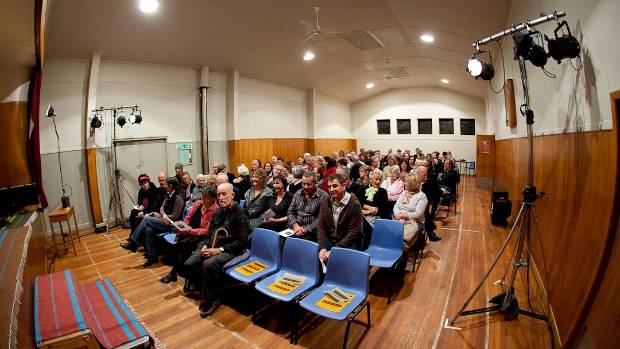 An audience eagerly awaits a Festival of Colour production in the Luggate Memorial Hall.
