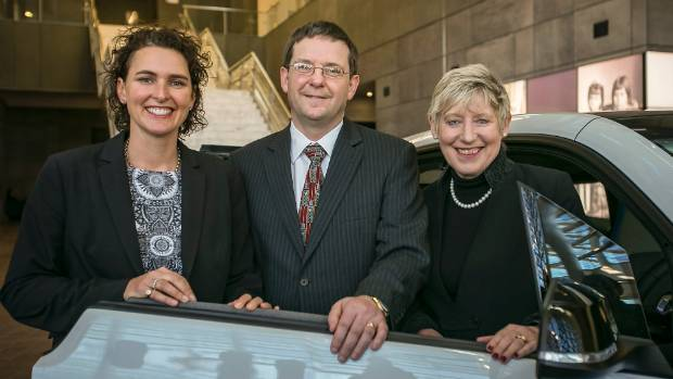 Yoogo general manager Kirsten Corson, council resource efficiency manager Kevin Crutchley and Mayor Lianne Dalziel ...
