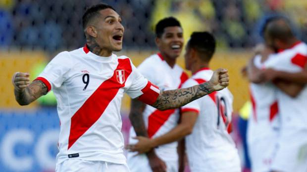 Peru's Paolo Guerrero and his team-mates react after picking up another win on Wednesday.