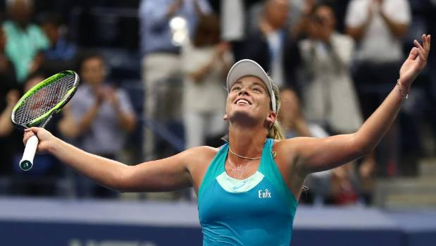 American CoCo Vandeweghe celebrates beating top seed Karolina Pliskova of Czech Republic in their US Open quarter-final