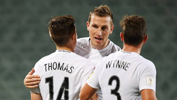 Chris Wood (centre) scored a hat-trick in the All Whites' 6-1 first leg victory over Solomon Islands in Oceania World ...