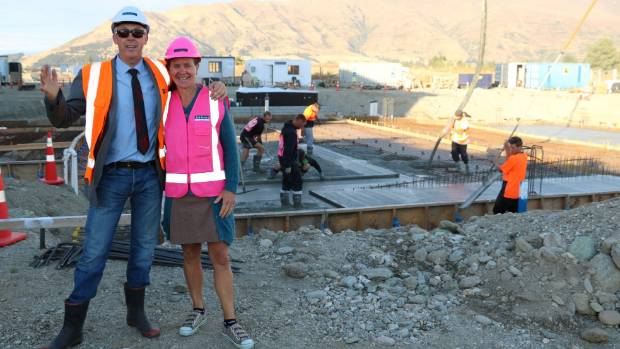 Councillor Calum MacLeod and Wanaka Community Board chairwoman Rachel Brown inspected the concrete pour in March.