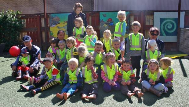 Pelorus Community Preschool children in their new hi-vis vests donated by Sanford.