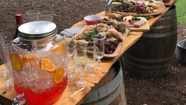 A gourmet spread for a hens' party at Queenstown Gardens.