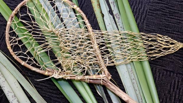 A poha, landing net made from harakeke flax on display at a Mahi Kupenga workshop held at Elma Turner Library as part of ...