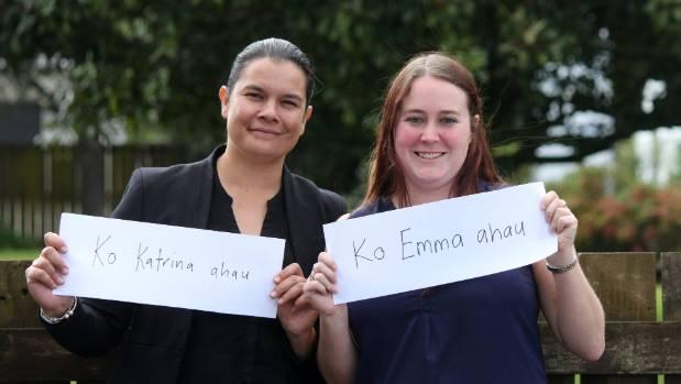 Katrina Tanirau teaches reporter Emma James a simple mihi for Maori Language Week, 2017.