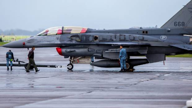 This Singapore F16 fighter jet is at Ohakea on a training exercise.