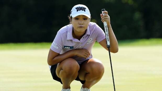 Lydia Ko lines up her shot on the 14th green during the U.S. Women's Open round one in July at Trump National Golf ...