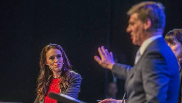 Labour leader Jacinda Ardern, left, and Prime Minister Bill English at the Stuff Leaders Debate in Christchurch on Thursday.