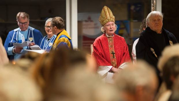 Bishop Victoria Matthews at a ceremony marking the start of synod meetings about whether to restore, gift to the ...