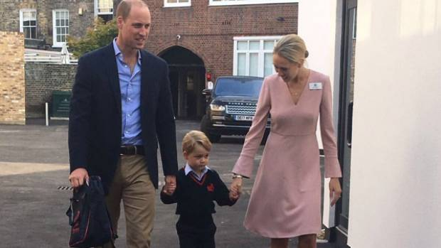 Prince George arriving for his first day at school with his dad, Prince William.