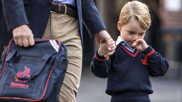 Prince George of Cambridge arrives for his first day of school at Thomas's Battersea on September 7.