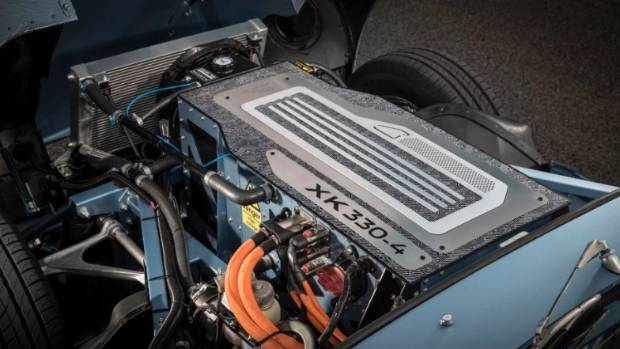 Whereas the original model used a 3.8-litre six-cylinder engine, its modern-day equivalent uses a 40kWh battery.