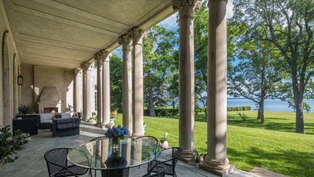 The property has panoramic views of the Long Island Sound.