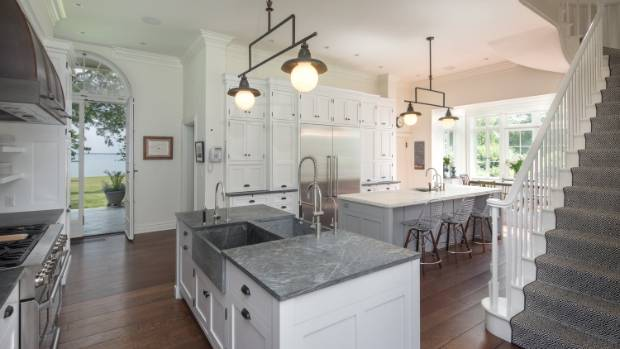 The spacious kitchen was designed to cater to entertaining on a lavish scale.