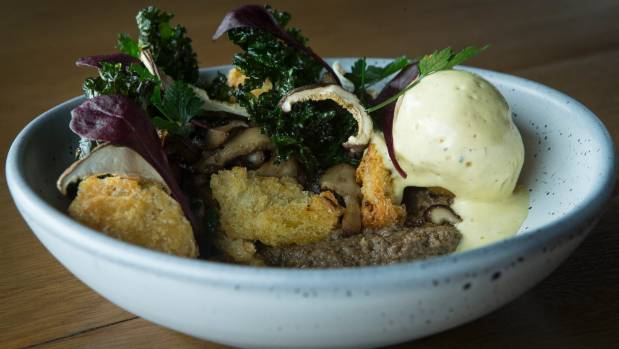 The mushroom myriad comes with poached egg, garlic croutes and truffle hollandaise.